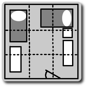 разделение комнаты на сектора